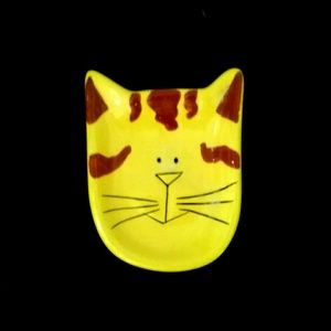 "TRINKET DISH Cat Ceramic 2.5""x 3.5"""